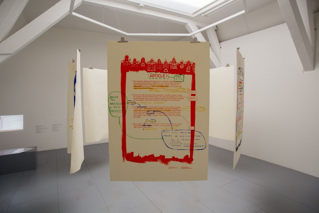 Adelita Husni-Bey, White paper:  The Law, 2015, 6 screen-printed posters with hand-written notes and corrections, 100 × 140 cm; each. Courtesy the artist and Laveronica arte contemporanea
