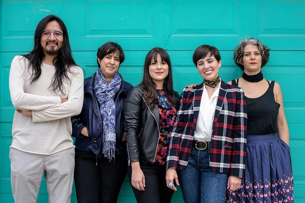 """TEOR/éTica's co-directors in 2018"". From left to right: Miguel A. López, Paula Piedra, Daniela Morales Lisac, M. Paola Malvasi Lachner, Dominique Ratton Pérez. Photo: Esteban Chinchilla"